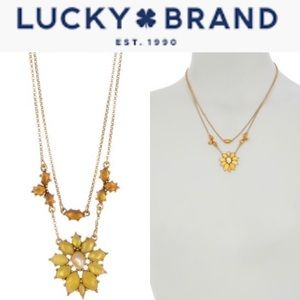 Lucky Brand Stone Flower Layered Collar Necklace